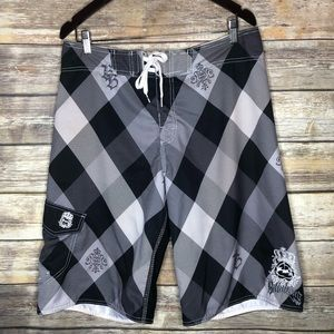 Billabong swim board shorts black white logo 34